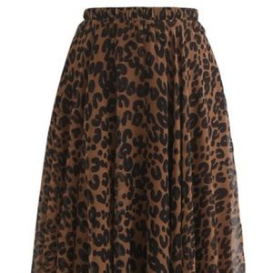 Leopard Watercolor Maxi Skirt